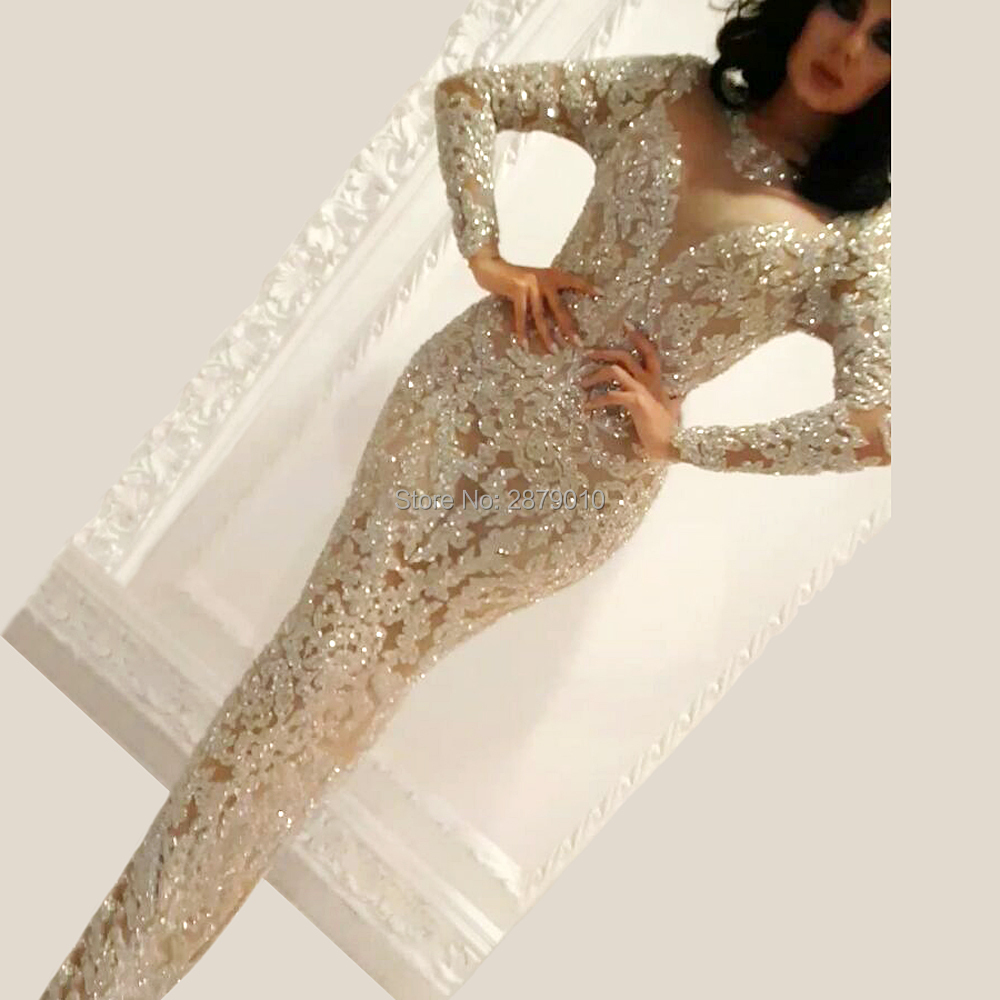 Haute Couture Elegant Champagne Dress Scoop Mermaid Tulle Full Sleeves Metal Spraying Sequined Full-Length Evening Dress Formal