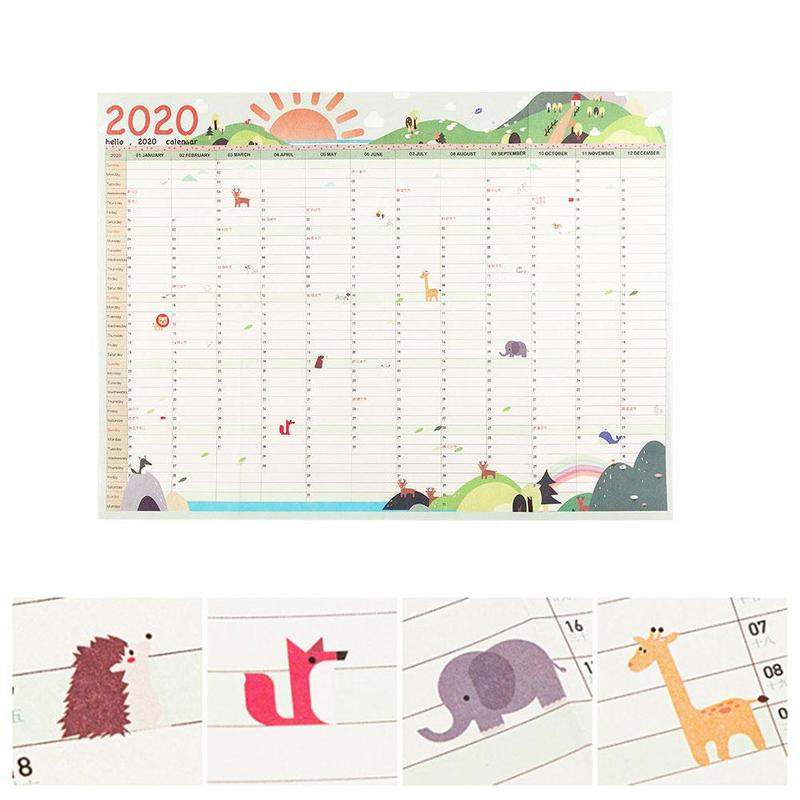 Hot Sell 2020 Wall Calendar Daily Planner 365 Days Countdown Diary Calendar Wall Stick New Arrival Study New Year Plan Schedule