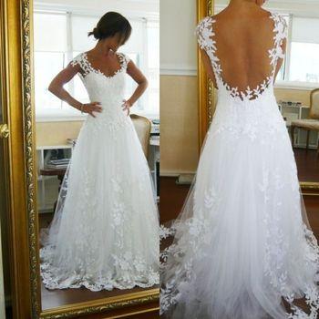 Cheap Vestido De Noiva Renda Applique Cap Sleeve Floor Length Wedding Dress 2015 See Though Back Sexy Com