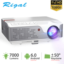 Rigal RD826 Full HD Projector 7000Lumens Native 1920 * 1080P Proyector 50 Degree Digital Keystone Android 6 0 Projector Theater cheap Manual Correction Auto Correction CN(Origin) NONE Digital Projector 4 3 16 9 170W Focus 650 Ansi Lumens Multimedia System