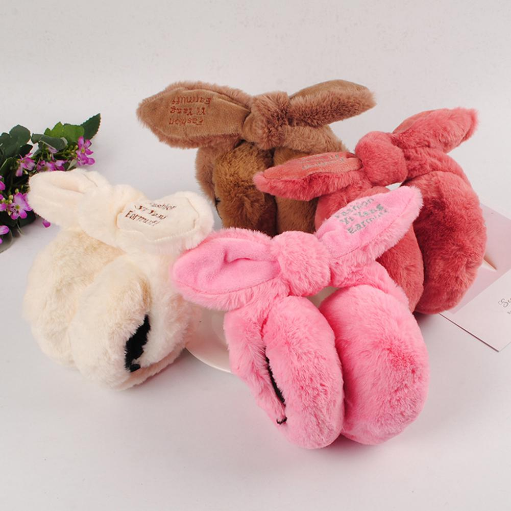 Kuulee Detachable Folding Plush Cute Rabbit Ears Design Earmuffs Winter Warm Girl Solid Ear Covered Ear Muffs