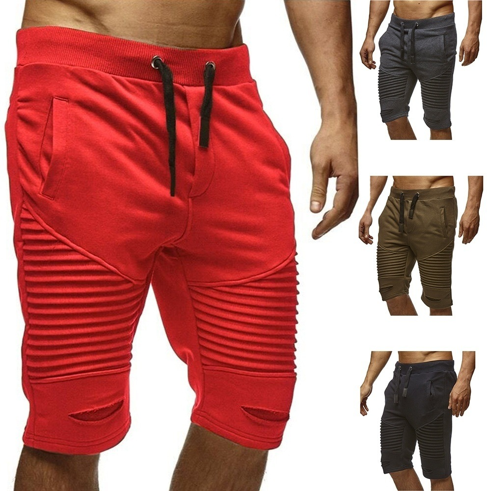 EBay Models In Europe And America Men's Trousers Pleated With Holes Elastic Rope Belt Trend Shorts