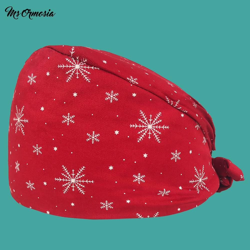 Quality Red Snowflake Print Men And Women Cotton Pharmacy Nurse Cap Elastic Band Bandage Surgical Cap Hospital Doctor Cap New