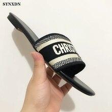 SYNXDN – pantoufles plates en cuir véritable pour femmes, chaussures de styliste, broderie de fleurs, à talons bas, marque de luxe, tongs d'été à bout ouvert