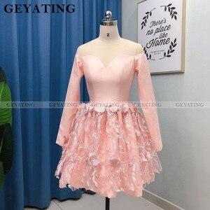 Image 2 - אלגנטי ארוך שרוולים סומק ורוד 3D פרחוני שיבה הביתה שמלות 2020 אונליין הברך אורך קצר קוקטייל שמלת מסיבת סיום שמלות