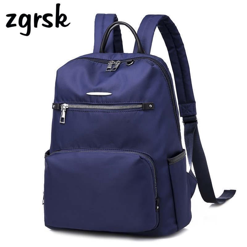 Female Korean Style Zipper Solid Pu Black Casual Fashionable School Bags For Teenage Girls Mochila Women Bagpack Bookbags