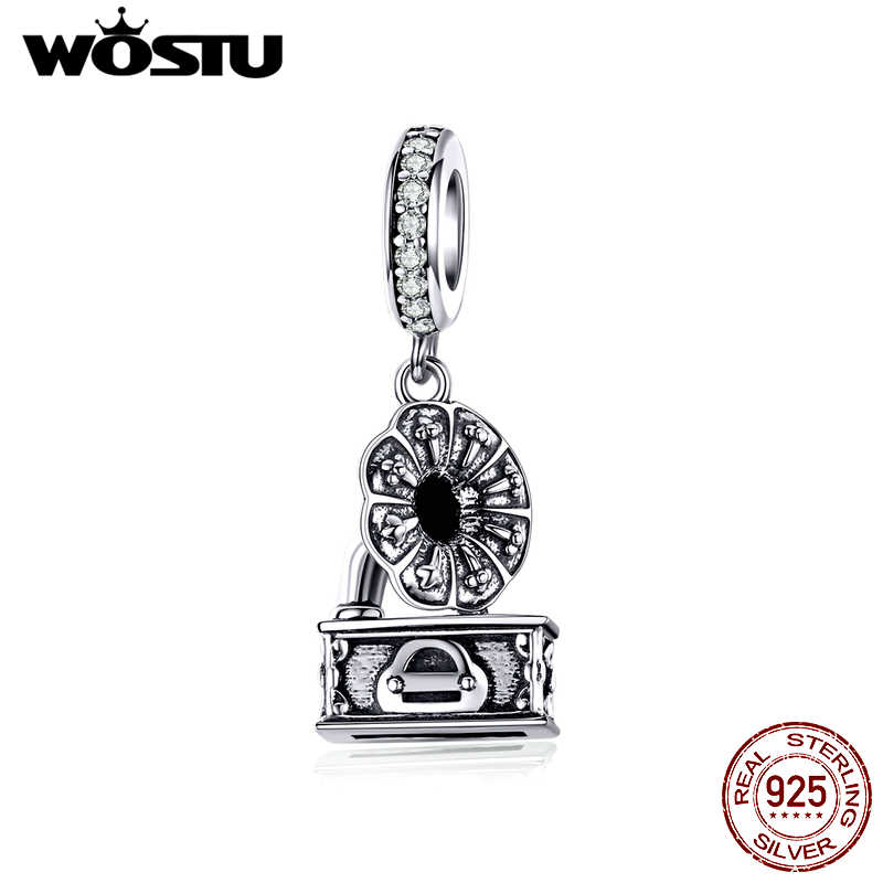 WOSTU Genuine 925 Sterling Silver Retro Gramophone Charms Zircon Vintage Beads Fit Original Bracelet DIY Necklace Jewelry CTC157