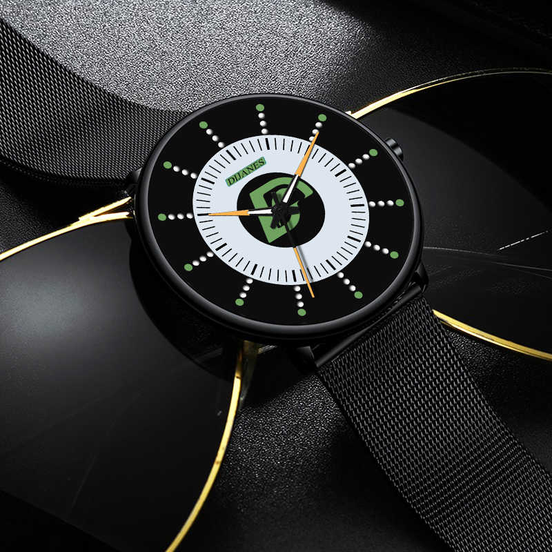 2020 Minimalis Fashion Mens Watch Ultra Tipis Bisnis Bercahaya Classic Stainless Steel Mesh Belt Kuarsa Watch Relogio Masculino