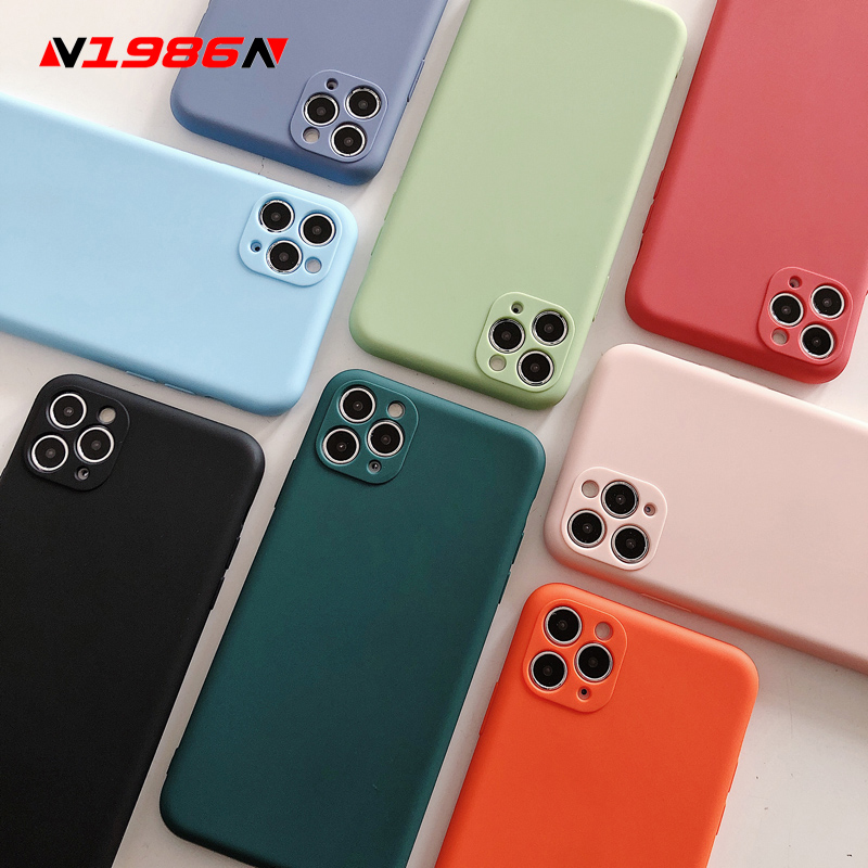 N1986N Phone Case For iPhone 11 Pro X XR XS Max 7 8 Plus Fashion Candy Solid Color Camera Protect Soft Silicone For iPhone 11