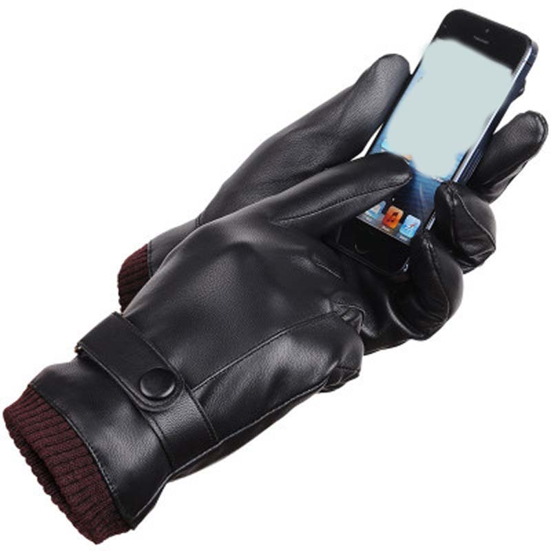 New Gloves Men's Touch Screen New Autumn And Winter PU Plus Velvet Warm Driving Gloves