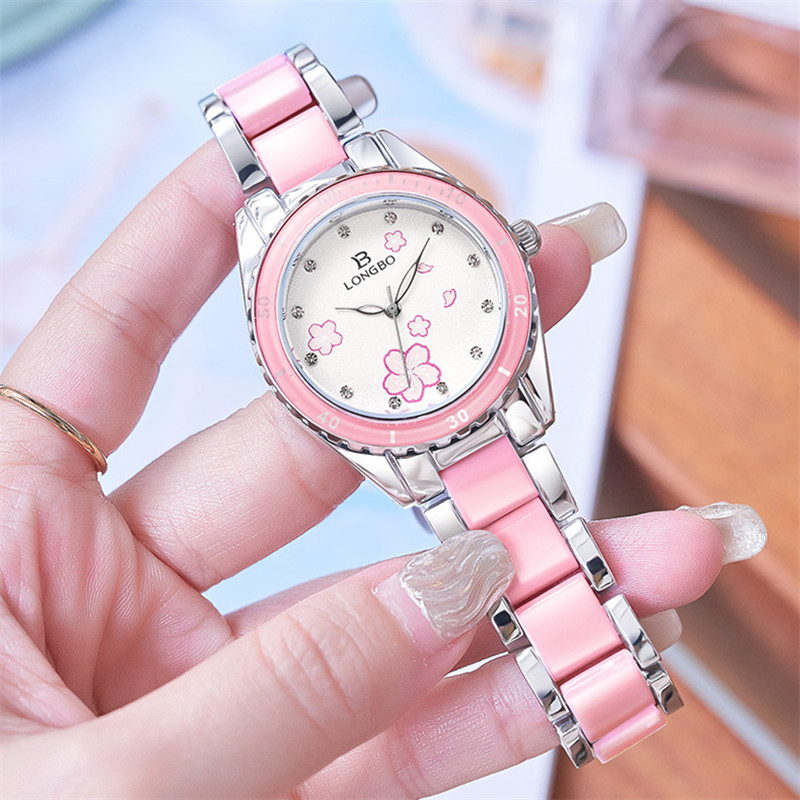 새로운 패션 Longbo 브랜드 여성 럭셔리 시계 탑 핑크 세라믹 쿼츠 시계 숙녀 캐주얼 간단한 방수 손목 시계 여성을위한