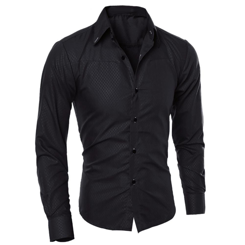 Men Slim Long-sleeved Business Casual Jacquard Shirt Men Shirt Men Casual Long Sleeve Shirt Fashion Solid Personality
