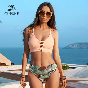 CUPSHE Solid Lace Up Bikini Sets And Leafy Bottom Sexy Cut Out Swimsuit Two Pieces Swimwear Women 2020 Beach Bathing Suits