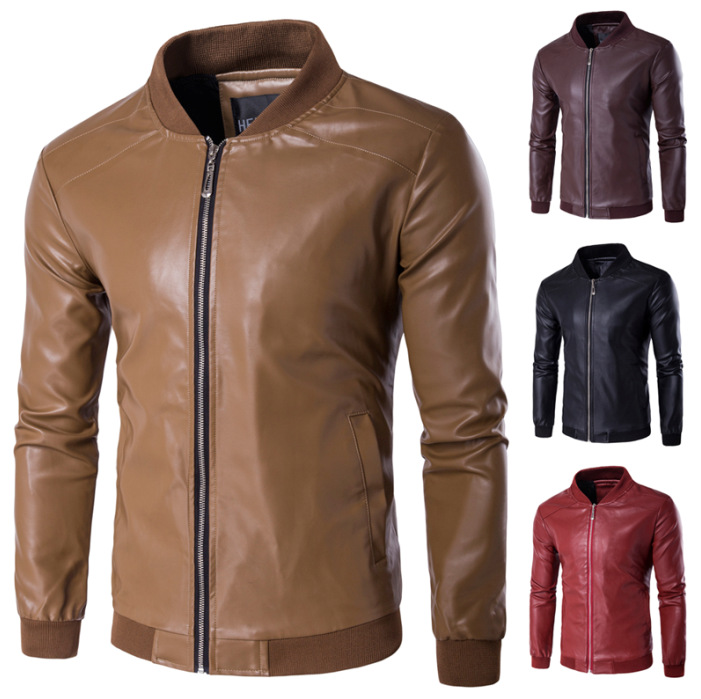 10w Stock! MEN'S WEAR Plus-sized Fat Leather Coat Winter Men's PU Leather Jacket Baseball Leather Jacket 4 Color Options