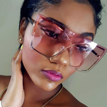 Oversized Square Sunglasses Women Luxury Fashion Clear Gradi