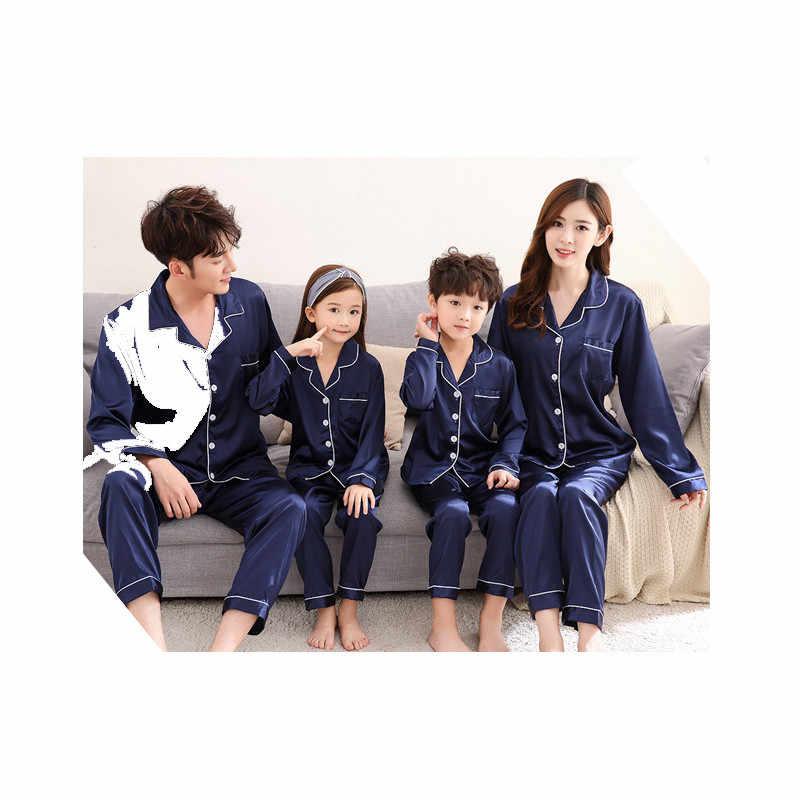 Семейный пижамный комплект JULY'S SONG, новая пижама из искусственного шелка, детская одежда для сна, пижама для родителей и детей, семейная одежда, женские пижамы