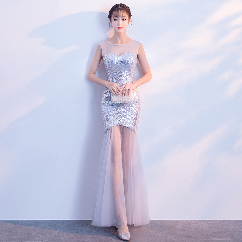 Patchwork Mesh Qipao Sexy Perspective Silver Bling Sequins Evening Party Dress Elegant Mermaid Cheongsam Vestidos De Festa