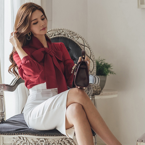 Spring Autumn Women Fashion Two-piece Slim Suit Female Bow Skirt Suit office lady Business  blouse sets Islamabad