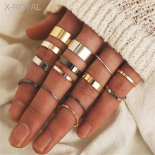 X-ROYAL 14Pcs/set European Boho Style Female Fashion Finger Rings Suit Vintage Alloy Women Geometric Wedding Party Knuckle Rings a suit of hot sale solid color women s alloy knuckle rings