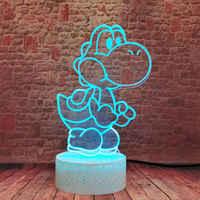 Figuras de acción y juguetes de bebé, luz LED nocturna colorida cambiante, Super Yoshi, ilusión 3D parpadeante