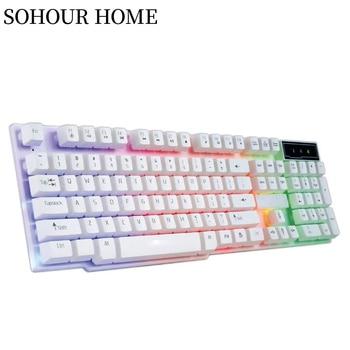 SOHOUR HOME Gaming Keyboard, Colorful LED Illuminated Backlight USB Wired Rainbow Mechanical Feeling Keyboard Computer