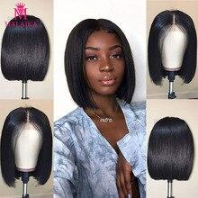 MALAIKA предварительно сорванные человеческие волосы кружевные передние парики с детскими волосами перуанские парики бесклеевые человеческие волосы парики для черных женщин Рождество