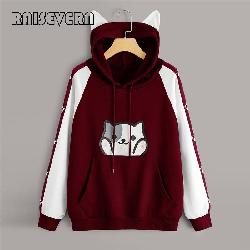 Women's Cat Ears Kawaii Hoodie Korean Style Casual Long Sleeve Cat Print Pocket Hoodies With Pocket Clothes Pullover Sweatshirt