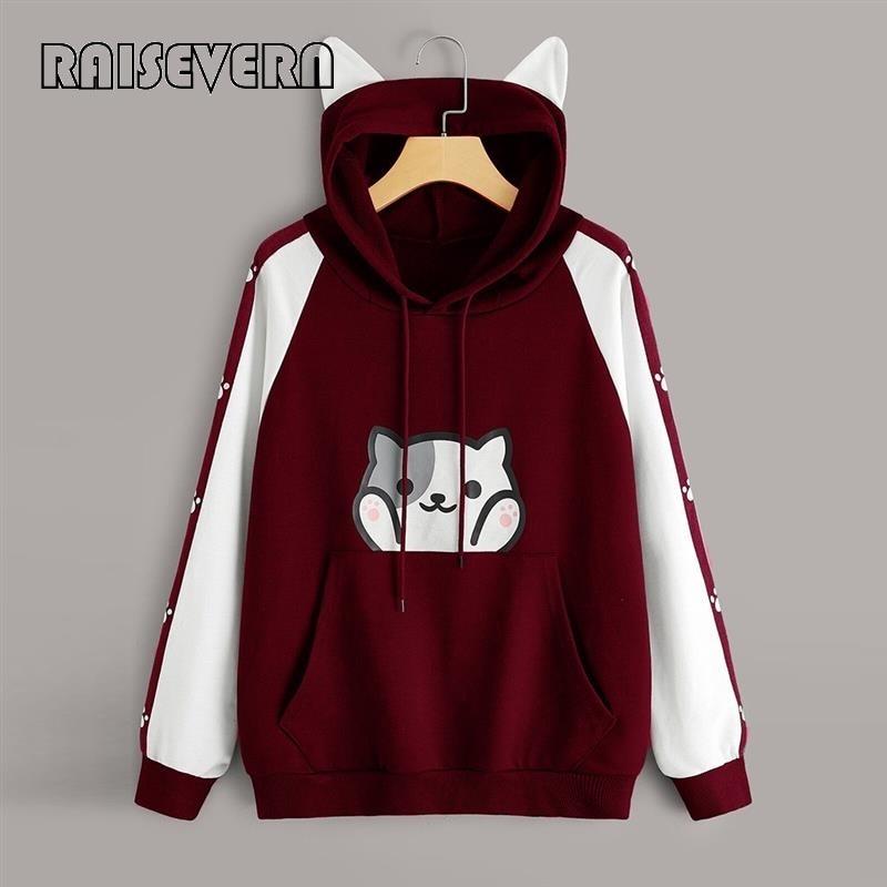 Women's Cat Ears Kawaii Hoodie Korean Style Casual Long Sleeve Cat Print Pocket Hoodies With Pocket Clothes Pullover Sweatshirt