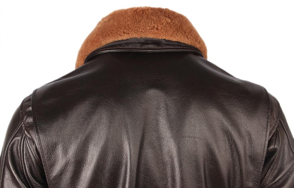 Hab4270dd6d0d496d9cbc913bec5d3ee6I Vintage Distressed Men Leather Jacket Quilted Fur Collar 100% Calfskin Flight Jacket Men's Leather Jacket Man Winter Coat M253