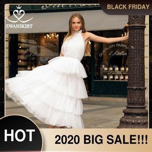 Image 1 - Swanskirt Бохо бальное платье свадебное платье 2020 светильник с открытой спиной Иллюзия Ruched тюль принцесса невесты по индивидуальному заказу Vestido de novia YP01