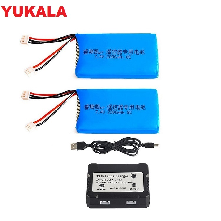 YUKALA <font><b>Lipo</b></font> Battery <font><b>2S</b></font> 7.4V <font><b>2000MAH</b></font> 8C <font><b>Lipo</b></font> Battery charger For Q X7 2.4G ACCST 16CH Telemetry Radio Transmitter image