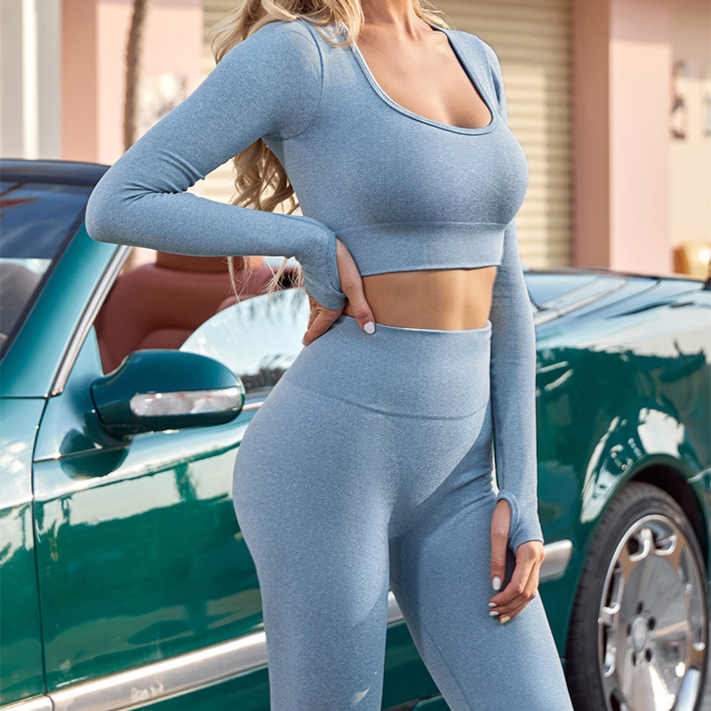 Набор одежды для йоги Женская Спортивная одежда спортивный фитнес спортивный комплект для тренажерного зала, состоящий из кроп топ с длинн...