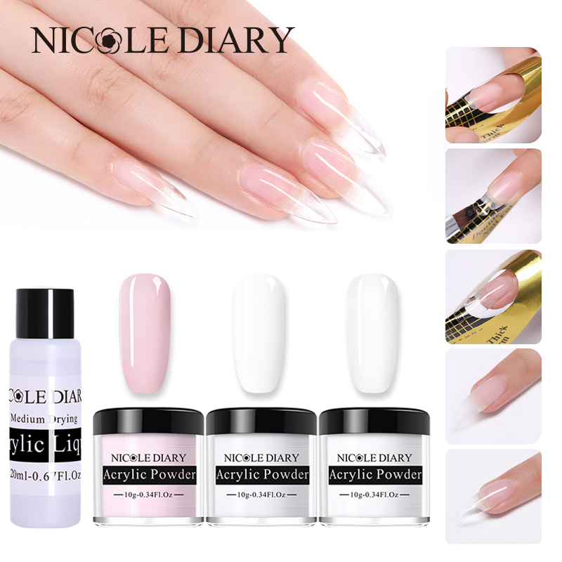 NICOLE DIARY 10ML Acrylic Powder For Poly Extension Quick Building Clear Pink Nail Tips Builder Nail Art Soak Off