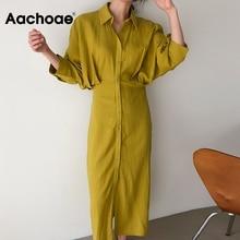 Aachoae Solid Color Women Fashion Batwing Sleeve Shirt Dress