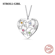 StrollGirl 925 Sterling Silver Heart Family Tree Pendant Necklaces Engraved with Names & Birthstones Jewelry