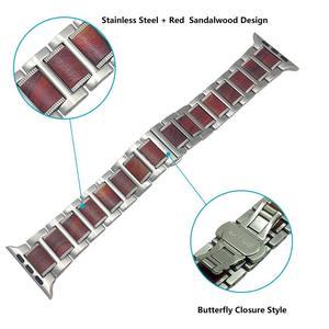 Image 4 - Bracelet en bois pour Apple watch, en bois de santal rouge + acier inoxydable, bracelet de Apple watch série 5 4 3 38, 42, 44mm