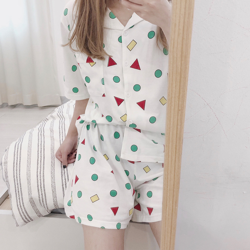All Pure Cotton Summer New Style Japanese-style Crayon Cotton Pajamas Short Sleeve Set Fold-down Collar Cardigan Girl'S Home Wea