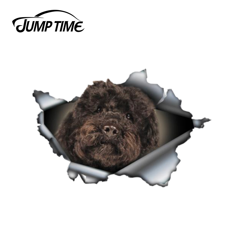 Jump Time 13cm X 8.6cmBlack Labradoodle Sticker Torn Metal Bumper Decal Funny Car Stickers Window Trunk Animal 3D Car Styling