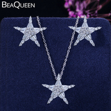 BeaQueen Twinkling Cubic Zirconia Stone Lovely Star Earrings Necklace CZ Crystal Starfish Women Fashion Party Jewelry Sets JS119 beaqueen twinkling cubic zirconia stone lovely star earrings necklace cz crystal starfish women fashion party jewelry sets js119
