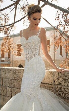 Real Photo Elegant Super Sexy Backless Lace Tulle Transparent Waist Bridal Gown Vestido De Noiva Renda Mother Of The Bride Dress