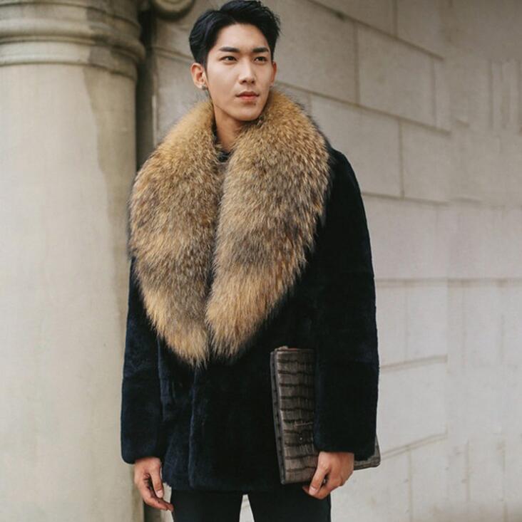 Autumn Big Fur Collar Faux Mink Fur Leather Jacket Mens Winter Thicken Warm Fur Leather Coat Men Loose Jackets Fashion B187