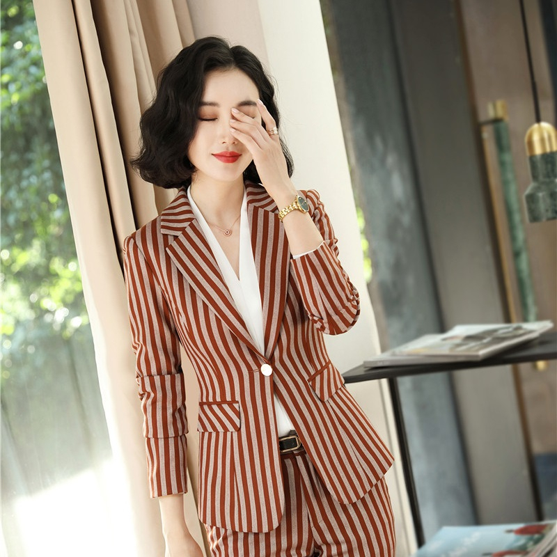 Fashion Striped Women Business Blazers Jackets Coat Formal Uniform Styles For Office Ladies Tops Outwear Clothes Autumn Winter