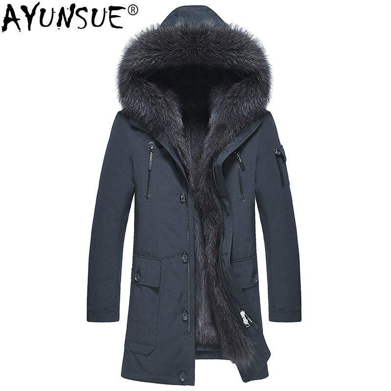 AYUNSUE Parka Real Fur Coat Men Winter Jacket Natural Raccoon Fur Liner Warm Jackets And Coats Parkas Hombre 2019 4163 KJ2977