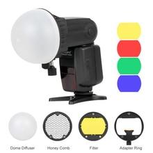Triopo Flash magnetyczny Dome filtr kolorów Honeycomb siatka Ball dyfuzor Speedlite zestaw akcesoriów do Godox Yongnuo latarka