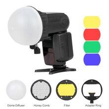Triopo difusor de bola de malla de nido de abeja, filtro de Color de cúpula magnética de Flash, accesorios para Speedlite Kit para linterna Godox Yongnuo