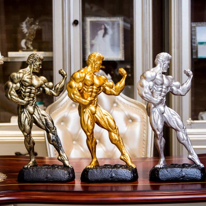 Fitness Muscle homme met en place des trophées de compétition sportive de musculation figurines de boxe Statues Sculptures décorations de gymnastique cadeau