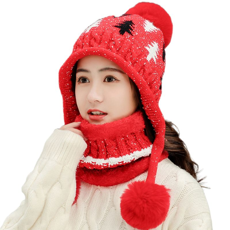 2Pcs Womens Beanie Earflap Hat Infinity Scarf Set Braided Cable Knit Xmas Tree Pompom Cap Winter Plush Lined Neck Warmer