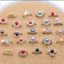 Дешевые и прекрасное серебро кольцо с покрытием из или крепления с красочными 6-8 мм Жемчуг, сделай сам, Ювелирное Украшение регулируемое кольцо случайный смешанный 10 Вт, 30 Вт, 50 шт