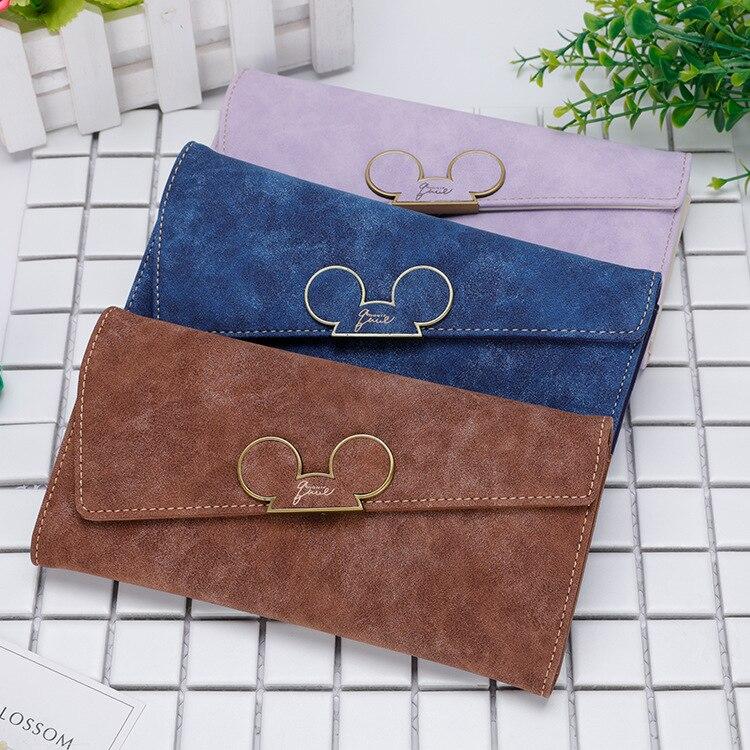 Disney Cartoon Mickey Coin Purse Girl Bag Coin Fold Women Long Wallet Package Lady Card Scrub Wallet Holder Card Clutch