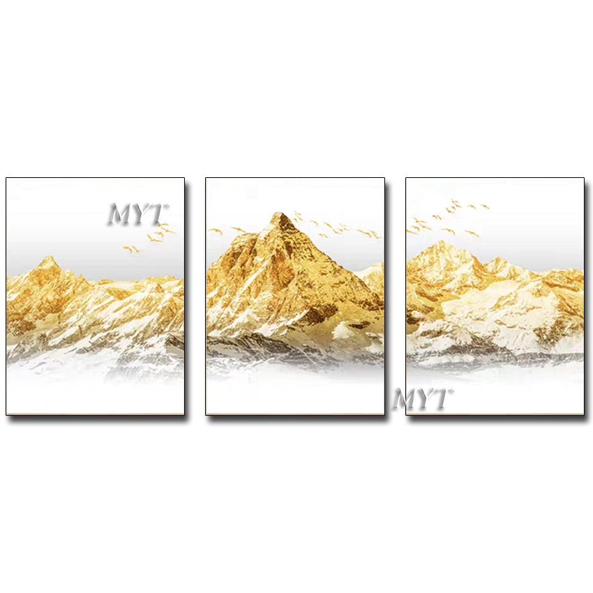 Modern Living Room Decoration 3 Pieces Canvas Oil Painting New Gold Foil Abstract Wall Art Hand-painted Painting Picture Artwork